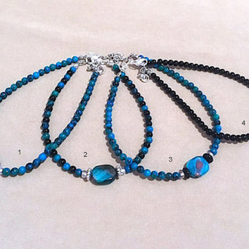 Turquoise, Jet Black Glass, Swirl Accent Bead & Silver Accent Anklet, Handmade Original Design Fashion Jewelry, Bold Unique Ladies Gift Idea