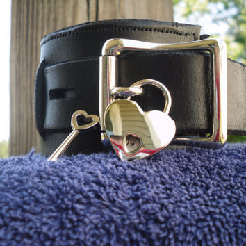 Heart shaped padlock in nickel - Free US Shipping