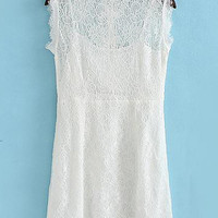 Lace Solid Color Bowknot Sundress