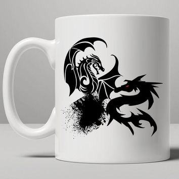 There Be Dragons Baseball Mug, Tea Mug, Coffee Mug