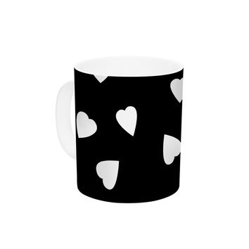 "Suzanne Carter ""Hearts White"" Black Ceramic Coffee Mug"