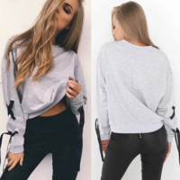Solid Color Round Neck Long-Sleeved Knitted Sweaters