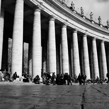 Black and white print, canvas. Architecture photo, black and white print, black and white art, panoramic, St Peter's Square, framed print