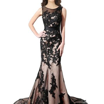 Womens Embroidered Applique Prom Long Formal Mermaid Evening Ball Gowns Black