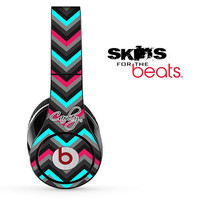 Custom Name Script Pink-Black-Teal Chevron Pattern Skin for the Beats by Dre Studio, Solo, MIXR, Pro or Wireless Version Headphones