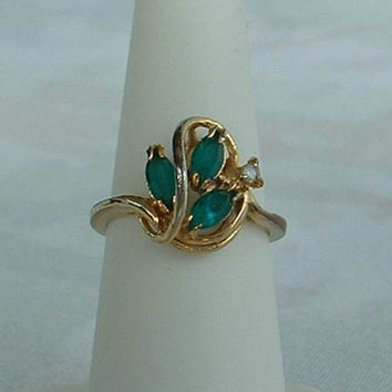 PAD signed Emerald Green Navette Rhinestone Ring 18KT GE Size 5.5 Vintage Jewelry