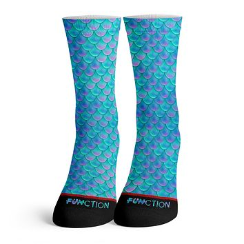 Function - Mermaid Holographic Tail Pattern Fashion Socks Fish Scales Rainbow