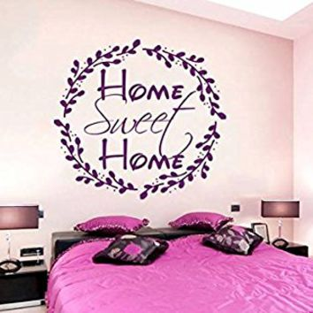 Home Sweet Home Wall Decals Family Lettering Vinyl Sticker Rustic Decor Housewarming Gifts Decals Bedroom Design Interior NV214 (17x17)