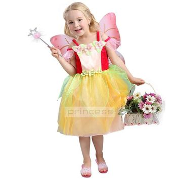 HI BLOOM Princess Flower Child Lunlum Girl Dress Kids Faery Cosplay Dress Up Halloween Costumes For Girls Tulle Party Dress 3-8T