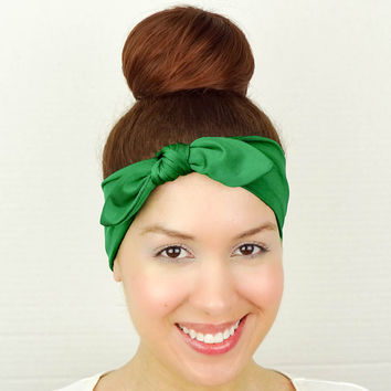 Turban Bow Headband Green Turban Bow Headband Big Bow Headband Green Hair Bow Stretchy Headband Stretch Head Wrap Green Yoga Headband