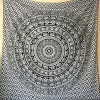 LARGE FABRIC Black White Mandala Elephant Wall Tapestry Hippie Wall Hanging Throw Boho Bedspread Home Decor