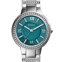 Women's Fossil 'Virginia' Crystal Accent Bracelet Watch, 30mm