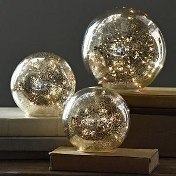 Exclusive Set of 3 Pre-Lit Mercury Glass Globes