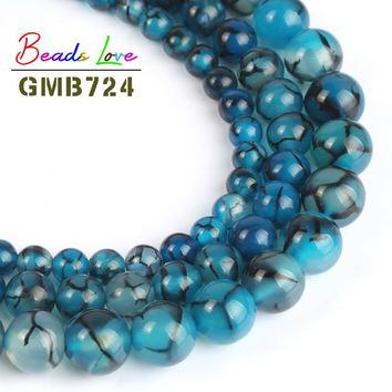 Natural Stone Blue Black Line Dragon Veins Agat Round Beads for Jewellery Making 6/8/10 mm 15'' Diy Necklace Bracelet Jewelry