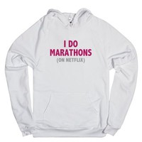 I Do Marathons (on Netflix) - Red Pink-Unisex White Hoodie