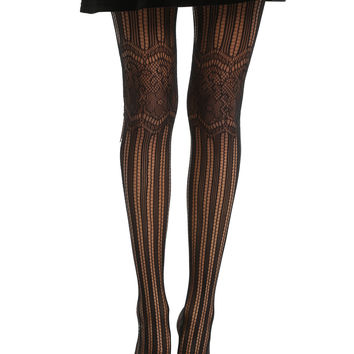 Black Stripe Floral Lace Knee Tights