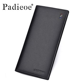 New Mens Long Wallet Thin Fashion Clutch Wallets for Male Genuine Leather Card Holder Casual Men Purse