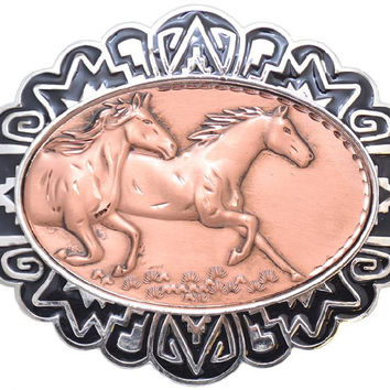 """Modern New Solid Copper & Pewter BELT BUCKLE - RUNNING HORSES 4"""" X 3"""" - C-35 - New"""