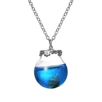 Vintage Ocean Series Necklace Silver Plated with Shell Glass Wish Bottle Choker Pendant Neklace for Women Wedding -03327