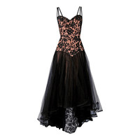 1940's Don Loper Beaded Sheer Lace-Illusion Hourglass Trained Evening Gown