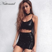 Women Sequined dress Sexy Black Gold sleeveless 2 pieces set spaghetti strap dresses Mini