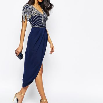 Virgos Lounge Ursula Embellished Midi Dress With Wrap Skirt
