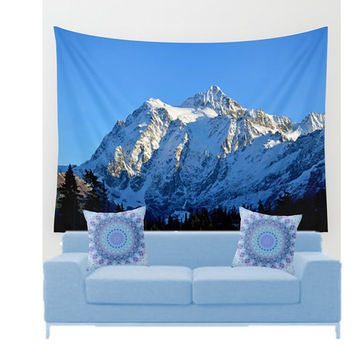 Wall Tapestry - 'Mount Shuksan - View With Snow' - Home Decor - Wall Decor, Modern, Home Warming Gift, Symmetry, Bohemian, Boho, Floral