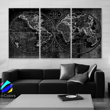 """LARGE 30""""x 60"""" 3 Panels Art Canvas Print world Map Old Vintage Rustic Black & White Wall decor Home Office interior ( framed 1.5"""" depth )"""