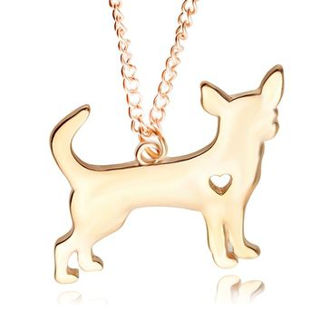 2017 New Fashion Cute Little Puppy Dog chihuahua Pendant Necklace Silver&Golden Plated Necklace women jewelry Chrismas Present