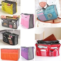 Practical Handbag Purse Nylon Dual Organizer Insert Cosmetic Storage Bag = 1705677252