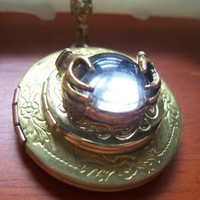 Gypsy Fortune Teller crystal ball Double locket necklace