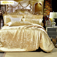 2017 NEW Gray flowers High Quality Silk Tencel satin Jacquard Bed linen Bedding set Queen king size Bedclothes Duvet cover set
