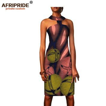 summer choker dress for women AFRIPRIDE african print sleeveless above-knee length casual women strapless dress A1825067