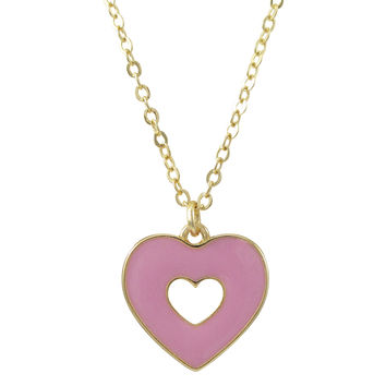Light Pink Enamel Double Sided Open Heart Pendant On Gold Plated Brass Chain Necklace