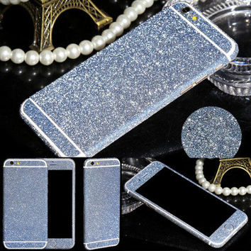 Multi-colors Glitter Bling Diamond Side Edge Rhinestone Sweets Deco Phone Bling Diamond Skin Sticker For iPhone 6Plus 5.5 inch