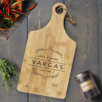 Personalized Engraved Paddle Cutting Board, Bamboo - CB05