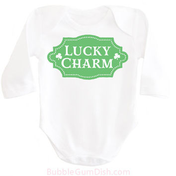 Girls Lucky Charm Shirt Shamrock Shirt Irish Baby Girl Outfit My First St. Patrick's Day Ireland Clover OnePiece My 1st St Patricks Bodysuit