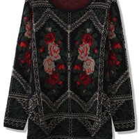Retro Floral Golden Embroidered Sweater