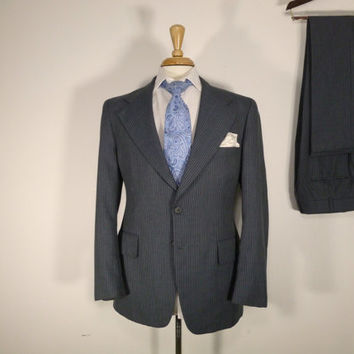 Vintage Mens suit, vintage clothing 80's by AJ August Two Piece Two Button Classic Grey pinstripe 40