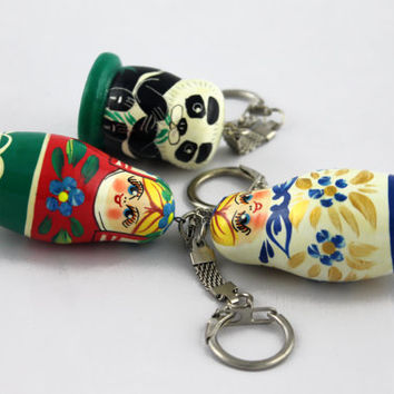 Lot of 3 Keychain Matryoshka Babushka Hand Painted Handmade Souvenir Gift Handicraft