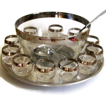 Mid Century Barware Dorothy Thorpe Punch Bowl Silver Rim Glass with Roly Poly Glasses 14 Piece Set