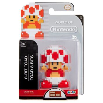 "8 Bit Toad 2.5"" Mini Figure World of Nintendo NEW Super Mario"