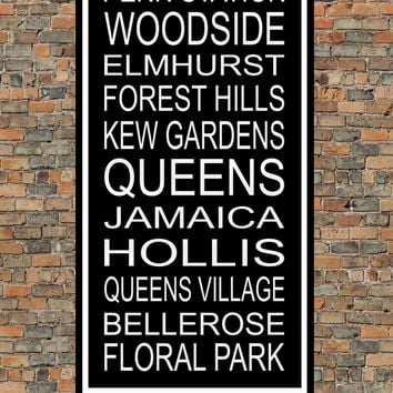 New York City Subway Sign Print - Woodside, Elmhurst, Kew Gardens, Queens Village
