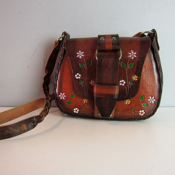 Vintage 60s 70s Mexican Hippie Hand Tooled Leather Bag Bohemian Flowers Saddle Floral Hobo Braided Strap Handbag Purse