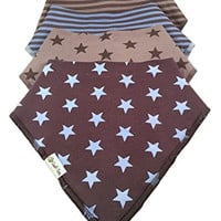4 Pack Boys Bandana Dribble Bibs. Premium Organic Cotton. Super Absorbent. Stylish and Practical Accessory. Protects T-shirts and Tops From Drool and Spit-up. Keeps Baby's Clothes Dry and Comfortable