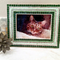 Green Mosaic Picture Frame, 5 x 7 Photo Frame, Jeweled Mixed Media Mosaic, Home Decor