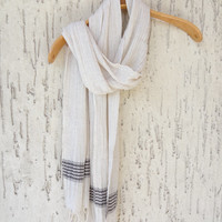 Handwoven infinity scarf,  Ivory,Brown Crepe Scarves, Natural,Organic Scarf, Fashion accessories, Women Scarves