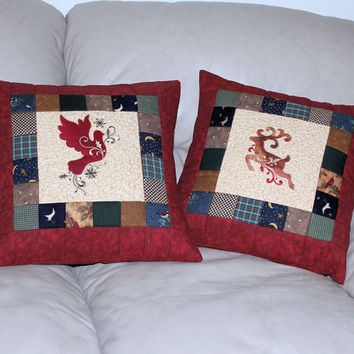 Country Throw Pillows Machine Embroidered  - Reindeer and Dove Quilted Set of Two Cabin Rustic Winter Christmas Home Decor