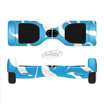 The White Mustaches with blue background Full-Body Skin Set for the Smart Drifting SuperCharged iiRov HoverBoard