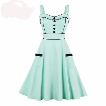 1950s Women Vintage Dress Pin Up Strap Green Summer Party Dresses Female Elegant Beauty Girl Vintage Dresses